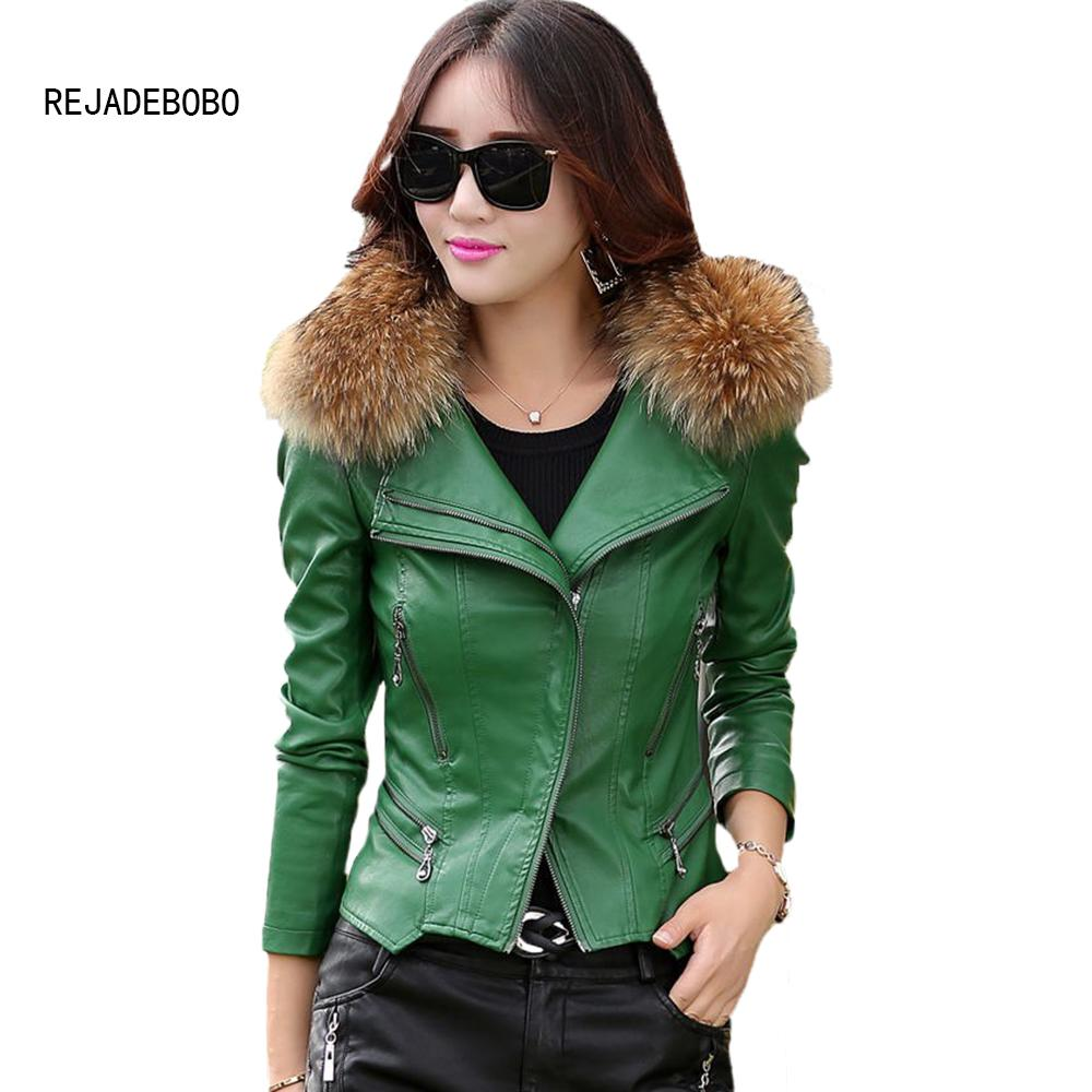 2019 Wholesale Real Fur Collar Leather Jacket Women Coat Female