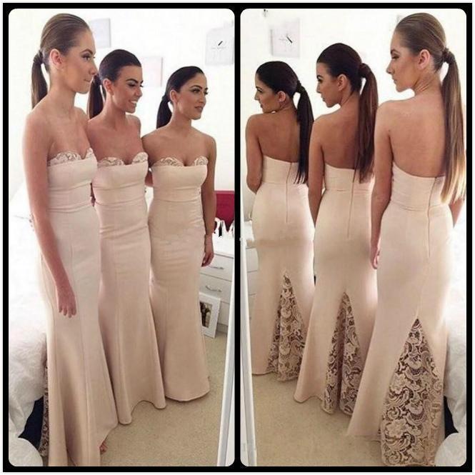 New Ivory Bridesmaid Dresses Mermaid Sweetheart Satin Lace ...