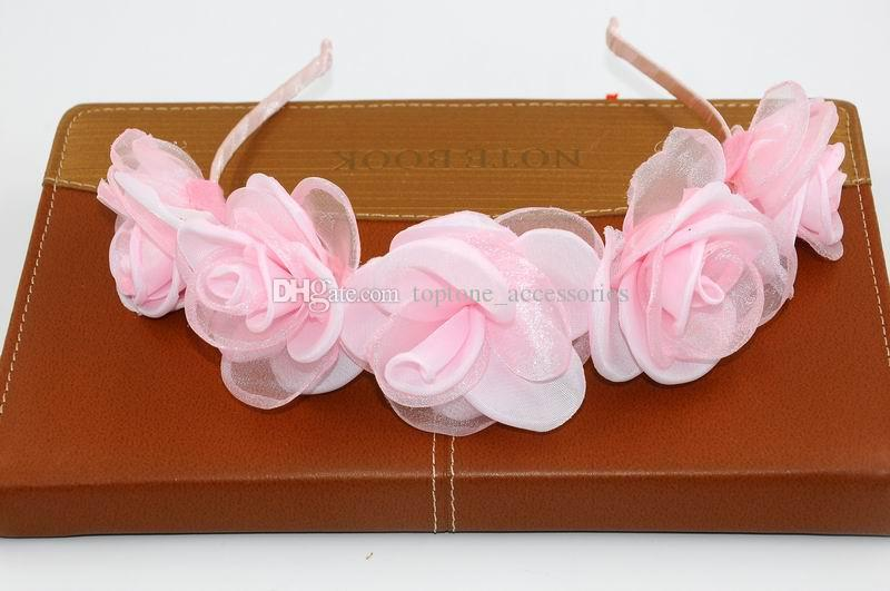 New Women Wedding Floral Crown Pink Flower Garlands Girl Lovely Hairband Tiara Festival Accessories Beach Headbands for Wholesale