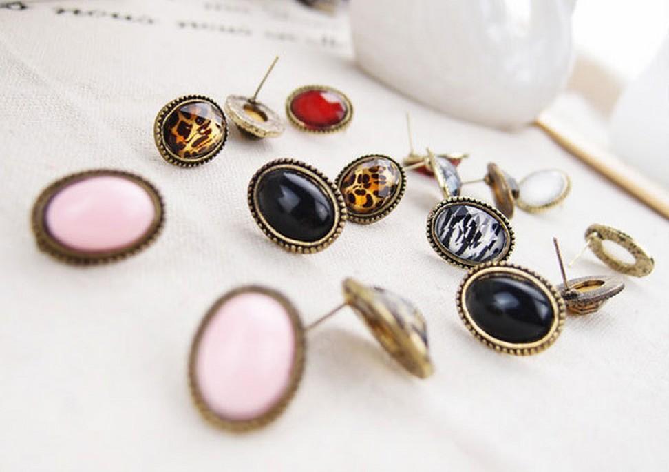 새로운 패션 쥬얼리 숙녀 레오파드 스터드 귀걸이 귀 스터드 선물 멋진 귀걸이 빈티지 스타일의 큰 라인 석 타원 귀걸이 귀 스터드 귀걸이