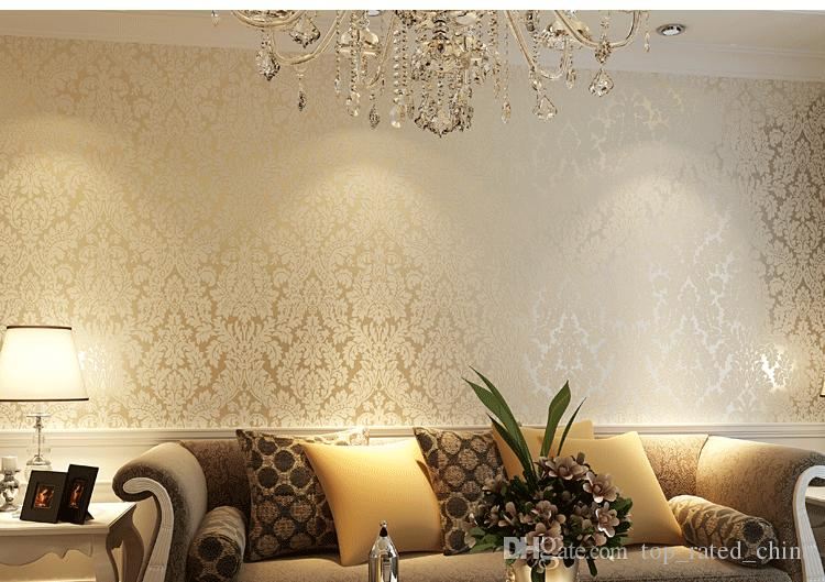 European Vintage Luxury Non Woven Damask Wallpapers Embossing ...