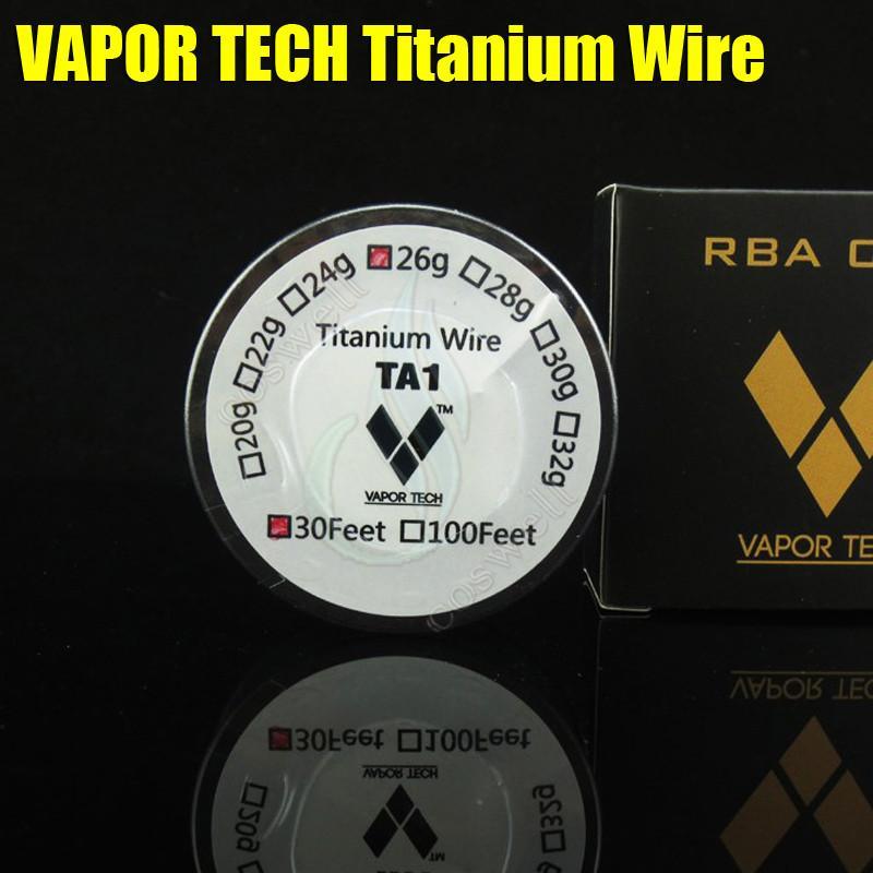 Top VAPOR TECH TA1 Control de temperatura del vaporizador de alambre de titanio mods 26 28 Calibre 30 AWG 30 pies VaporTech Calentador de titanio c e resistencia Res