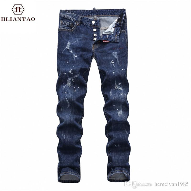 Compre 2017 Nuevo Negro Ripped Jeans Hombres Con Agujeros Denim Súper Skinny  Famosa Marca De Diseñador Slim Fit Pantalones Jean Rayado Biker Jeans 1875  A ... c7ca252ef16