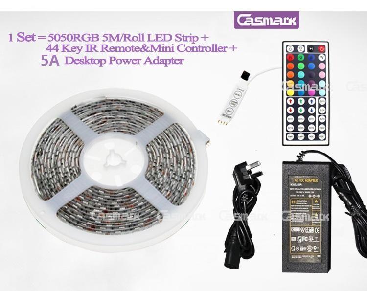 Strisce led 5050 RGB impermeabili 5M 300 LED SMD + 44 tasti telecomando ir + spina di alimentazione 12V 5A