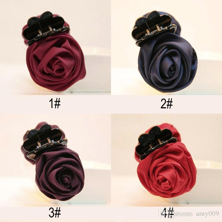 DHL Fashion Girls Women Korea style hairpin cotton Rose Flower Bow Hair Claw Jaw Clip Clamp Barrette Big Flower Hair Accessories