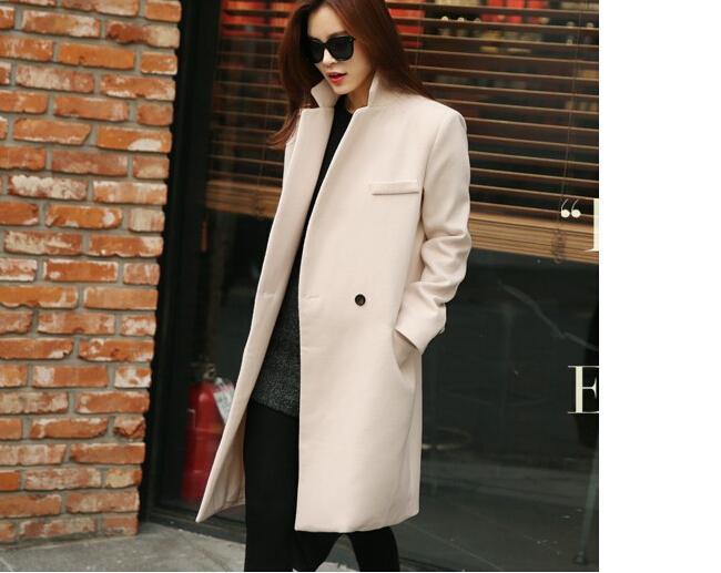 Abrigos largos de cachemira de otoño / invierno 2015 Moda europea y americana Chaqueta delgada Cuello largo Lana cortavientos Ropa Abrigos para mujeres