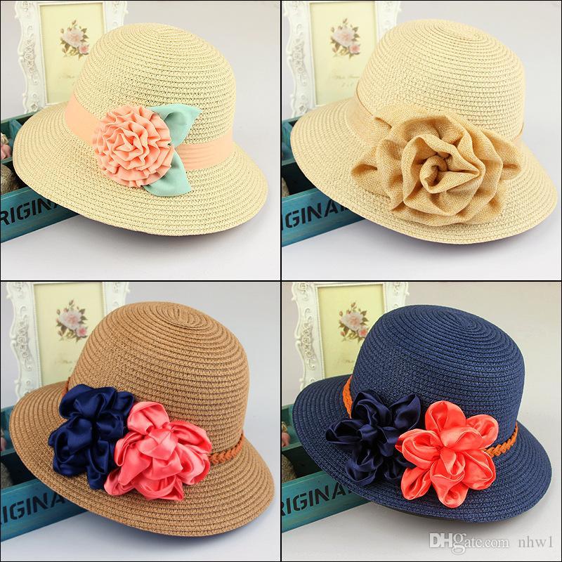 Ladies Women Candy Floral Hats Wide Brim Summer Beach Sun Straw ... ab2fdc3dab6b