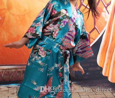 Kızlar royan ipek Elbise Saten Pijama kıyafeti Tavuskuşu Iç Çamaşırı Pijama Kimono Banyo Elbisesi pjs Gecelik 5 renkler # 3765