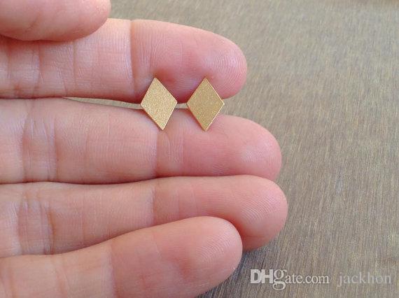 - S034 Gold Silver Diamonds Stud Earring Simple Rhombus Stud Earring Cute Poker Square Earrings Tiny Geometric Playing Card Earrings