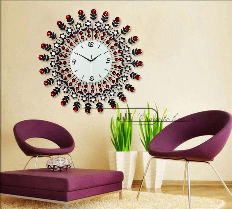 Large European Modern Luxury Living Room Wall Clock Garden Creative Mute Iron Diamond Watches