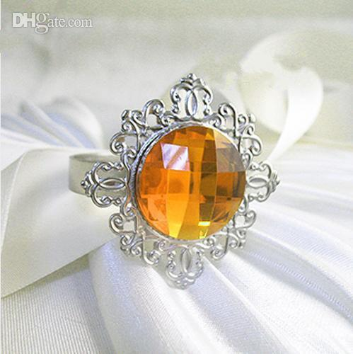 Gold or Orange Gem Stone Vintage Style Napkin Rings Wedding Bridal Shower Napkin Holder