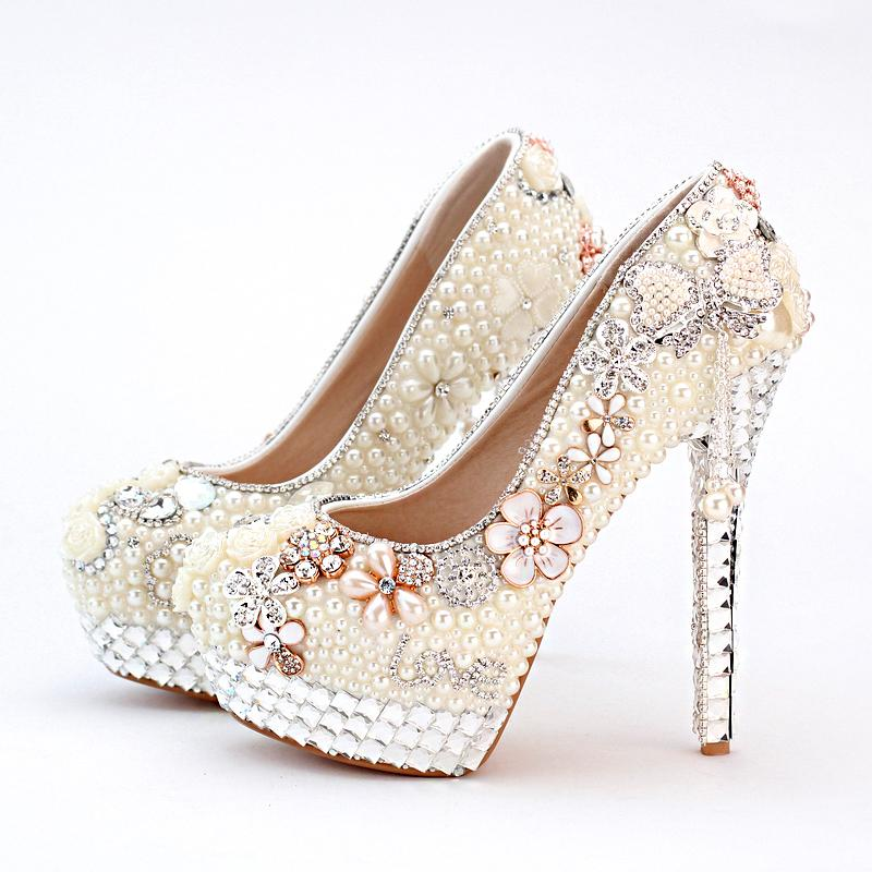 Bridal Shoes Wide Feet: Personalized High Heel Ivory Pearl Bridal Shoes Wedding