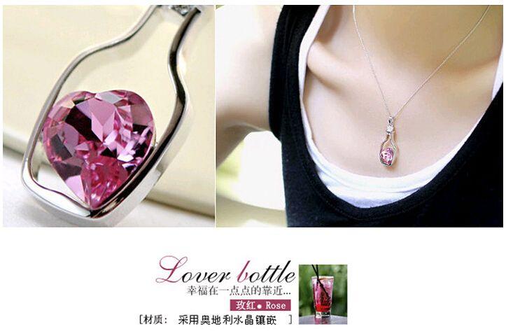 Dileğiyle Şişe Takı Kalp Kolye Kolye Moda Kristal Sparkle Taş Sautoir kızlar için Satış Ucuz 8 renkler
