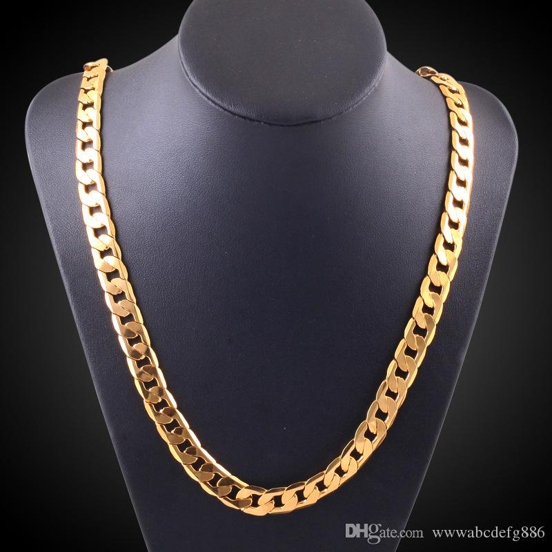 Classic mens 18k STAMP real yellow solid gold FLAT RIM CURB CHAIN chain necklace 20inch 10mm