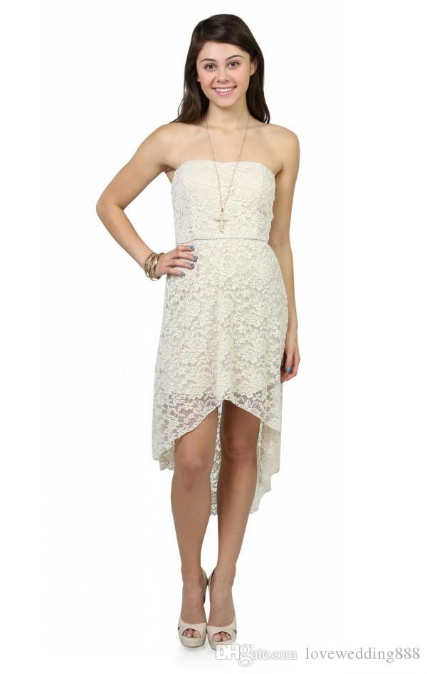 Hi-lo Lace Bridesmaid Dresses Strapless Sleeveless Country Maxi Ladies Girl Party Casual Gown Summer Beach Wear 2017