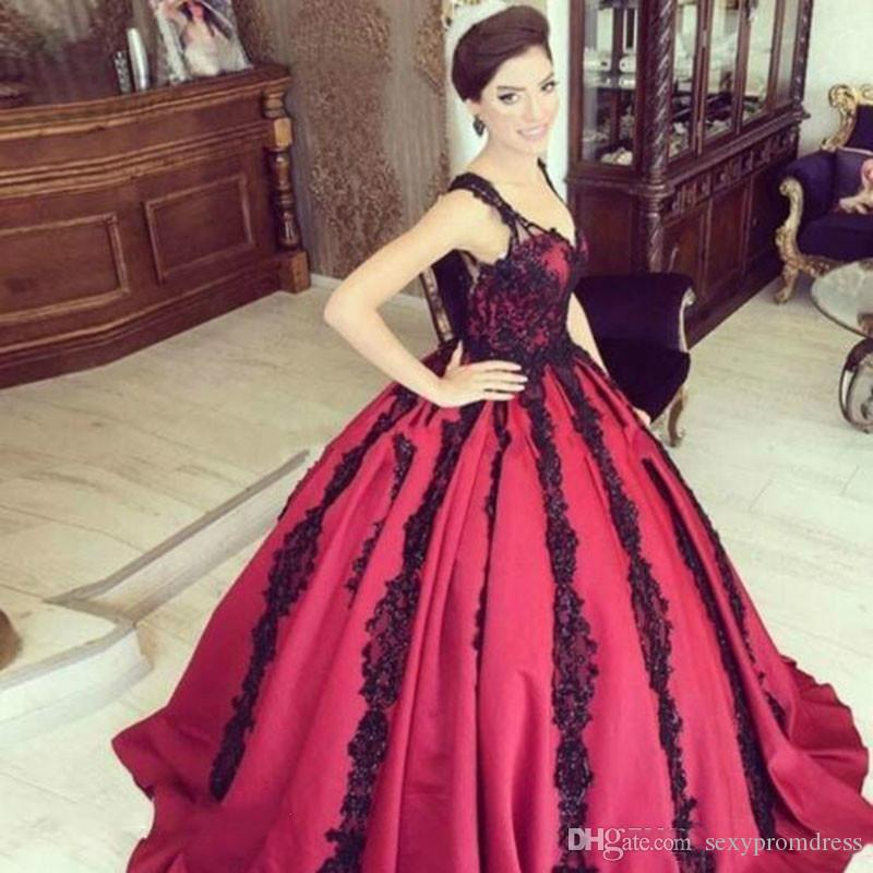 de307bdb04 Saudi Arabia Red Ball Gown Evening Gowns Black Lace Appliques Prom Dresses  With Straps Floor Length Women Formal Party Vestidos Short Prom Dresses Uk  Silver ...