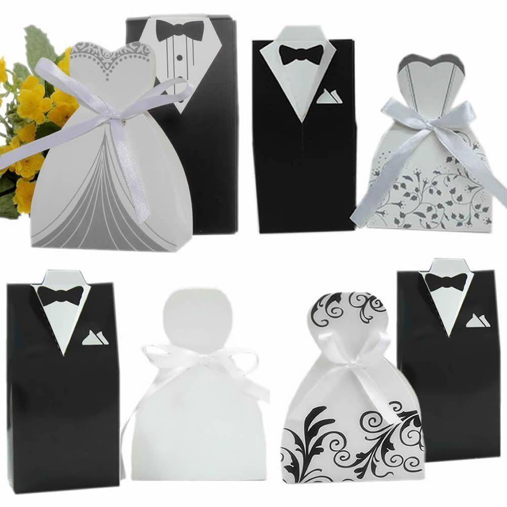 Romantic Groom Tuxedo Dress And Bridal Dress Wedding Candy Box ...