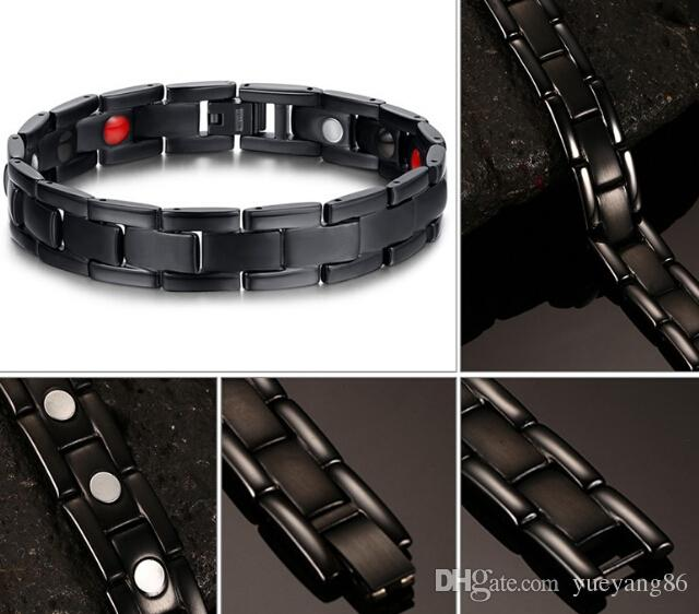 Newest Cool Men's Classical Gift Pure 316L stainless steel Never Fade Black Magnetic Therapy health Bracelet bangle High Quality