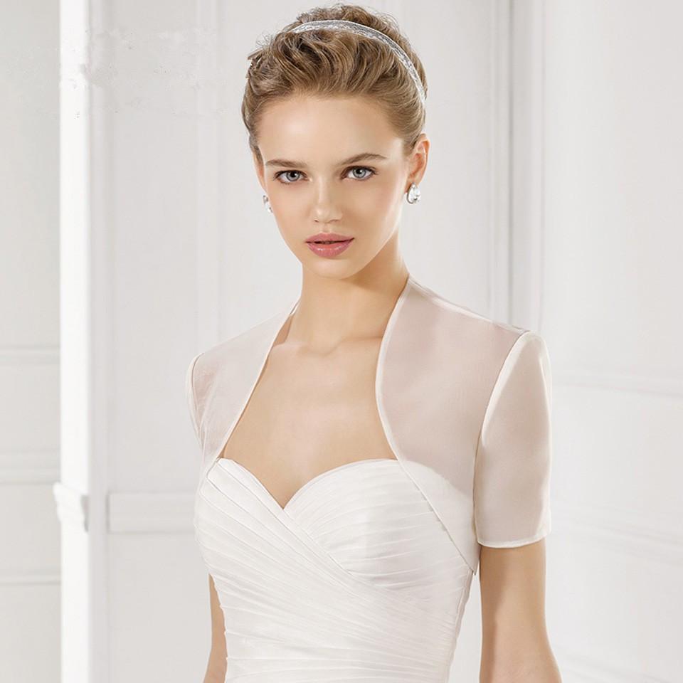 Weiße Hochzeit Mantel Elegante Hochzeit Boleros Jacke Kurzarm Organza Braut Jacke Hochzeit Zubehör nach Maß