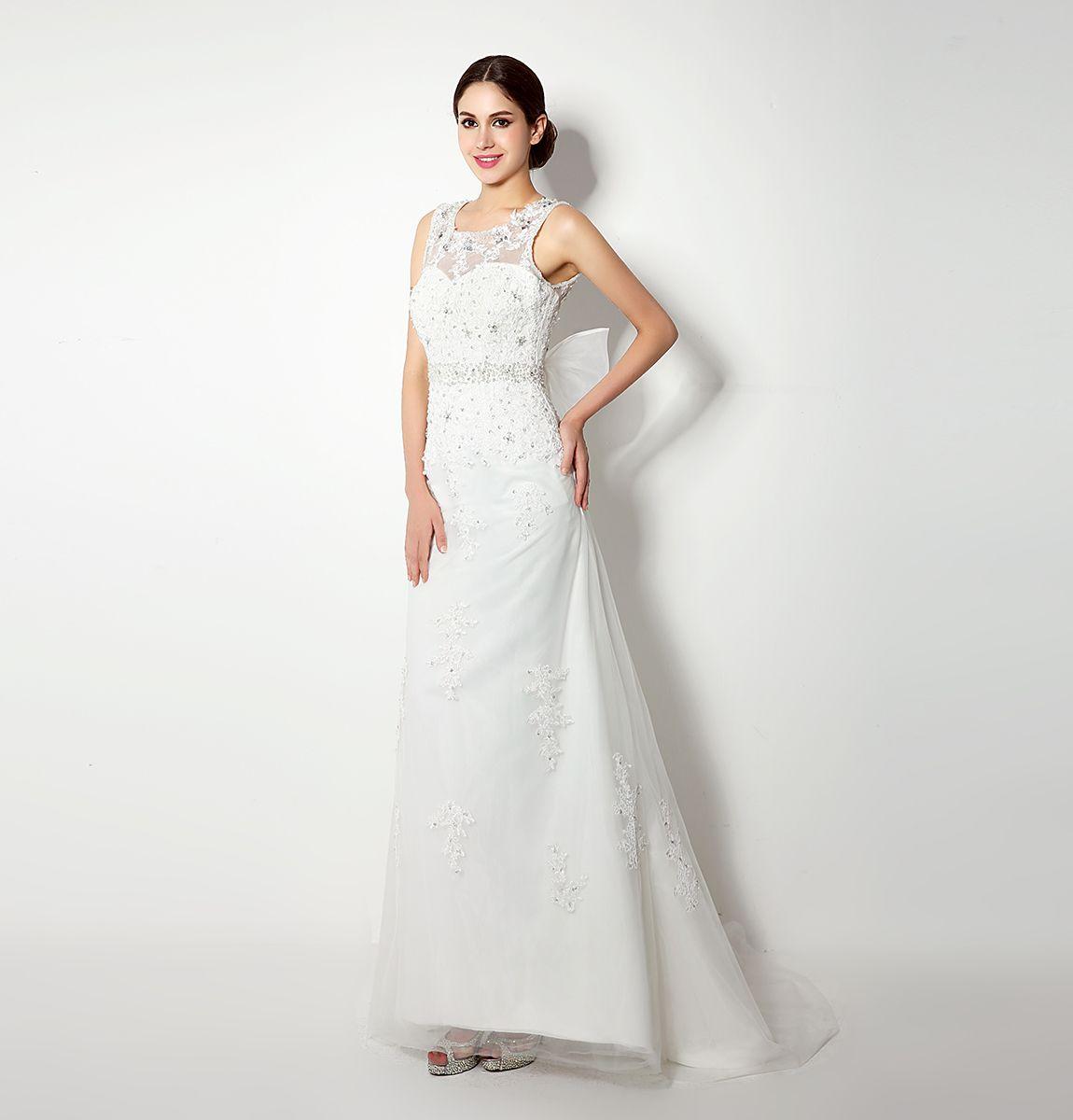 I lager sjöjungfru spetsar bröllopsklänningar med stor båge 2018 billig vit / elfenben brudklänningar applikationer kristall bröllopsklänning gratis frakt 32239