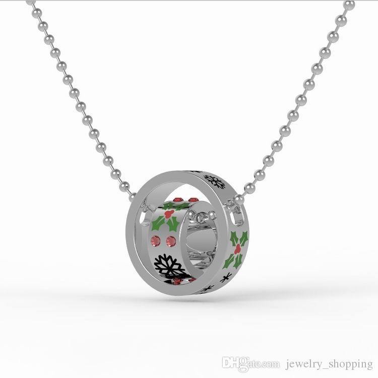 Hot Presente de Natal Banhado A Prata Casais de Cristal Anel pingente de colar Coreia pequeno círculo redondo mulheres pingentes
