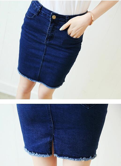 2016 Femmes Vêtements D'été Denim Jupes Femme Sexy Taille Haute Renversé Dames Mince Crayon Mini Court Jeans Jupes pour Femmes