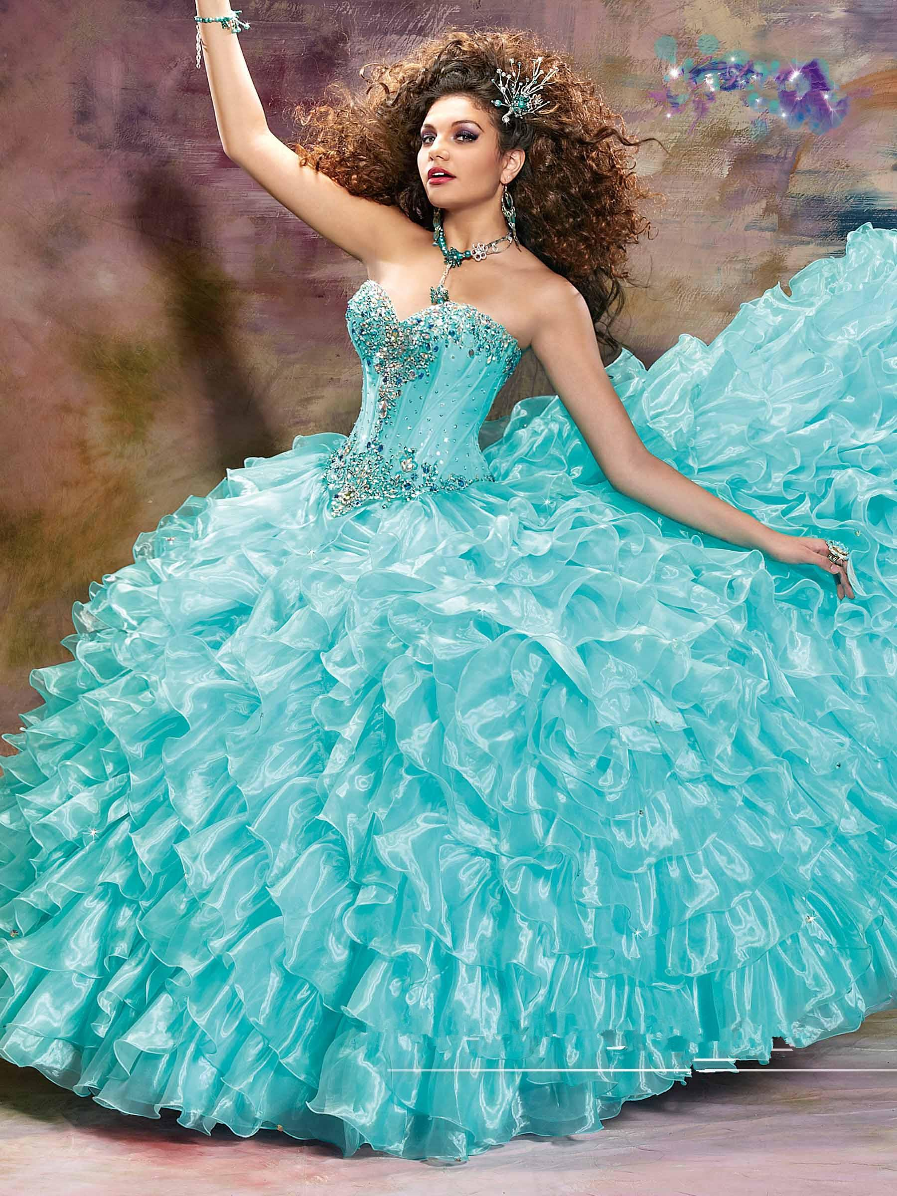 Quinceanera Dresses Fishbone Sweet 16 Girls Pageant Dress Ruffle Organza Ball Gown Birthday Party Dress Floor Length Prom Dress