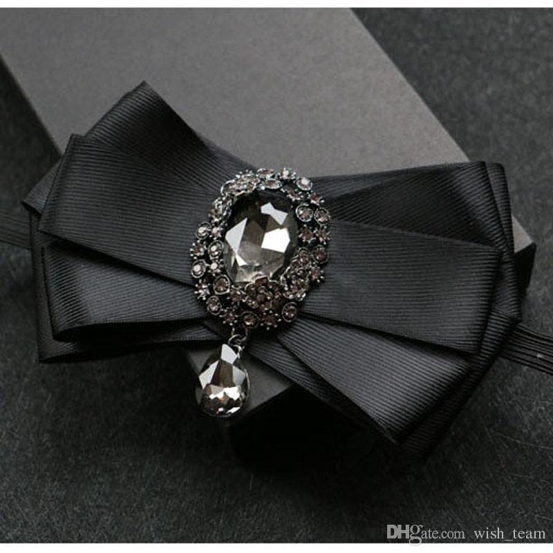 El nuevo hombre del juego Broches Pins Big Ribbon Bowknot Elástico String Bow Tie Collar Vestido de joyería de moda Accesorios de la camisa de la boda