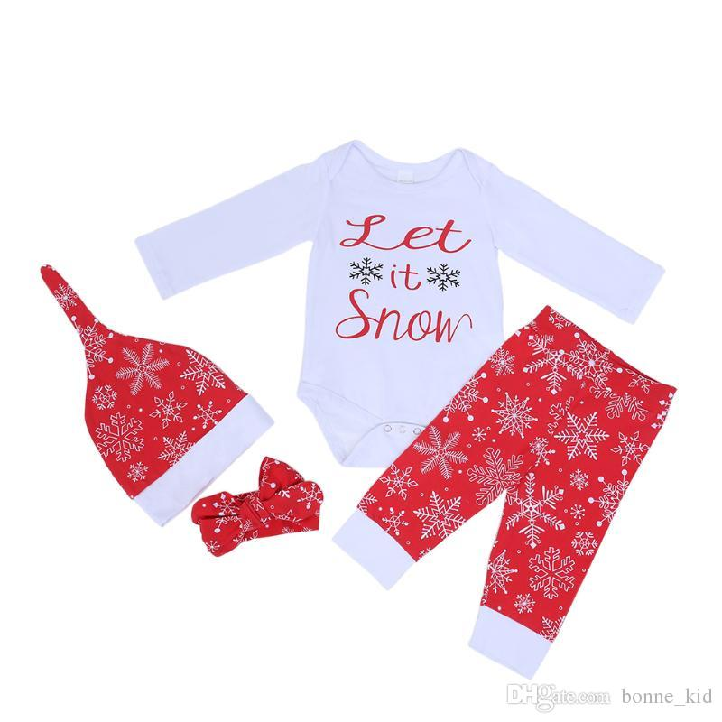 48f14ab14d 2018 Lovely Baby Christmas Romper+Pants+Hat+Headband Four Piece Outfits  Snow Pattern Kid Clothing Cotton Toddler Suit Boy Girl Clothes Xmas 0 24m  From ...