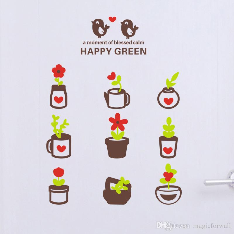 Green Planter Wall Art Mural Decal Home Art Decor Sticker Coffee Shop Bathroom WC Wall Decoration Sticker Happy Green Wall Quote Decal