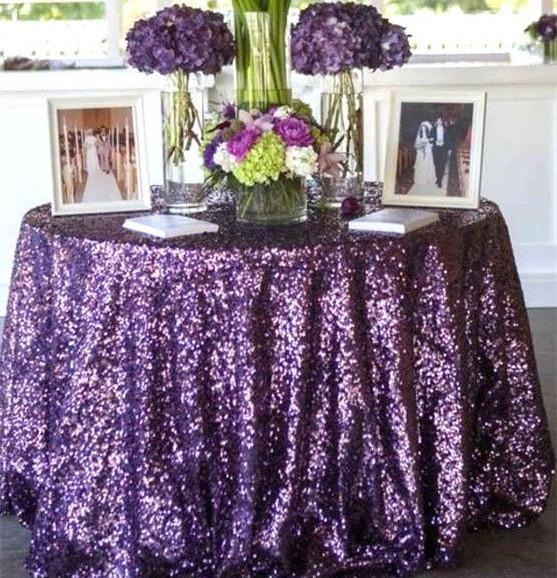 Bling Purple Sequins Table Cloth For Garden Wedding Party Decorations  Sequined Cake Tablecloth Round/Rectangle Table Decor Runner Skirts  Tablecloths For ...