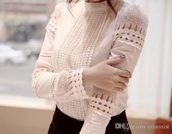 2015 ربيع الخريف المرأة البلوزات البيضاء زائد حجم المرأة بلوزة أنيقة الدانتيل الكروشيه الجوف سليم جودة عالية الشيفون بلوزة blusas القمصان