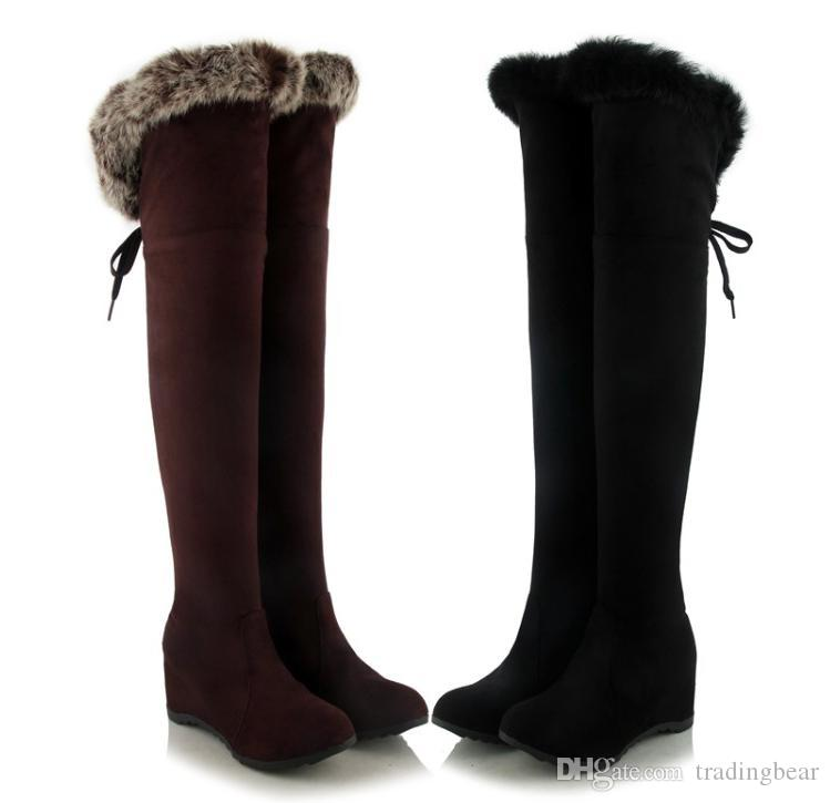 Plus Size 34 to 40 41 42 43 Black Brown Wedge Heel Fur Boots Over The Knee Boots Winter Shoes Invisible Height Increased