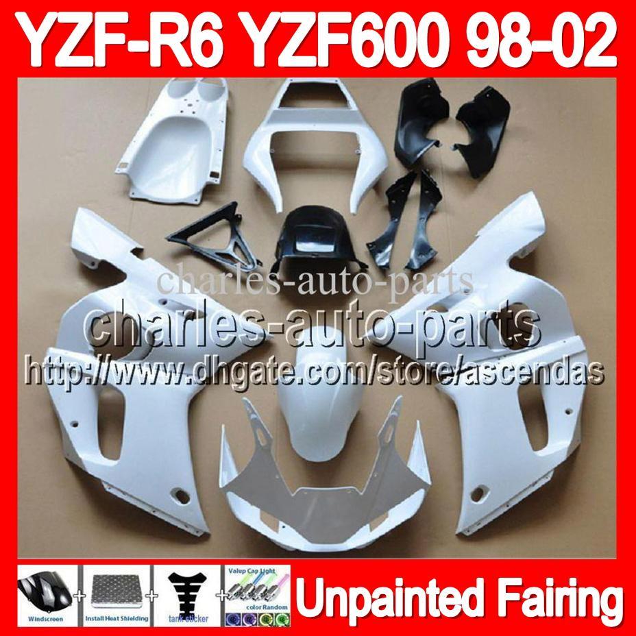 7 Gifts Kit de carenado completo sin pintar para YAMAHA YZF-R6 YZFR6 YZF600 YZF R6 600 98 99 00 01 02 1998 1999 2000 2001 2002 Cuerpo de cares de carrocería