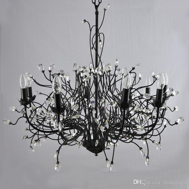 Alta Qualidade LEVOU Lustre de Cristais Pingente de Ferro Luzes Modernas 110 V 220 V retângulo lustres De Madeira Luzes de Teto Fit venda E14
