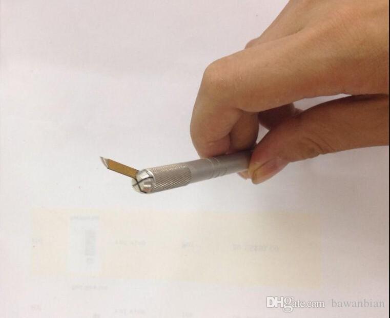 Wholesale-Mini Aluminum Permanent Manual Tattoo Eyebrow Makeup Pen For Permanent Makeup Cosmetic Eyebrows Tattooing Supplies