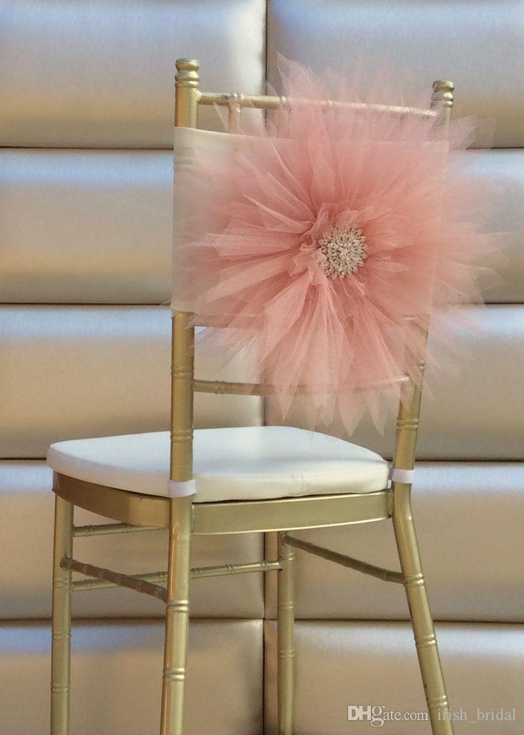 2015 Grandi fiori Perline di cristallo Romantico Fatto a mano Tulle Ruffles Chair Sash Chair Covers Decorazioni di nozze Accessori da sposa