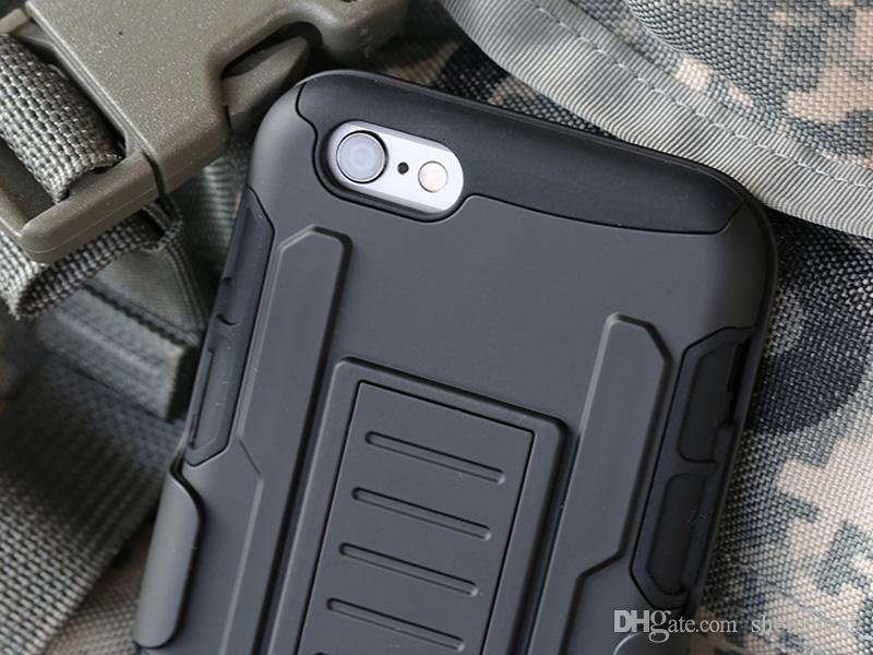 Armor Holster Case Waterproof Dirt-resistant Clip Cases Black Back Covers With Button Slots For iPhone 5 6 6Plus DHL Free SCA058