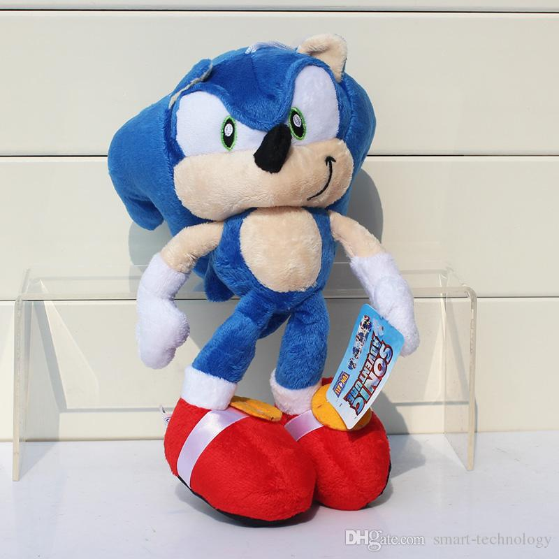 "Sonic The Hedgehog Plush Toy Doll Key Chain 10"" Blue Black and Red high quallity"