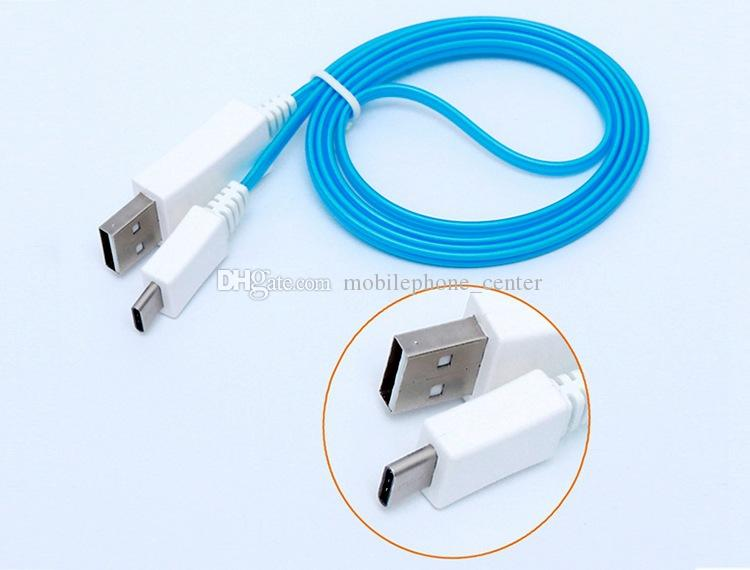 Flash USB Cable Universal EL Luminous LED Light Up type c type-c Data Sync Charge cable for Macbook Letv Nokia N1 One plus2