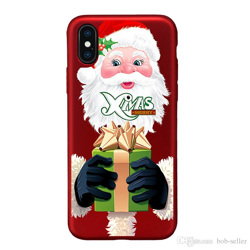 For apple iphoneX iphone X iphone 7 plus TPU box China red Christmas tree painted reliefs Christmas gift All-inclusive anti-drop cell phone