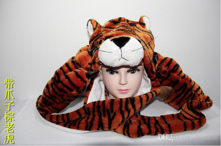 New Fashion winter animal hat even paw gloves 3 syncretic plush hat tiger Hats Scarves & Gloves Sets child Unisex gifts