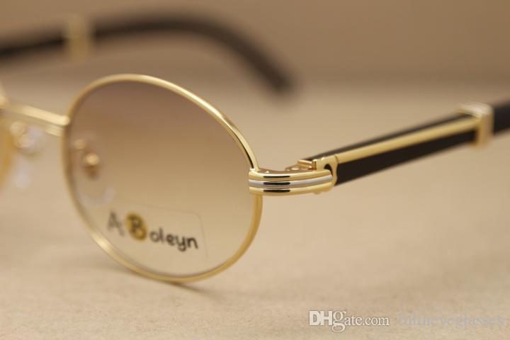 핫 2822546 라운드 금속 일 블랙 정품 천연 물소 뿔 선글라스 C 장식 골드 프레임 안경 프레임 크기 안경 : 53-22-135mm