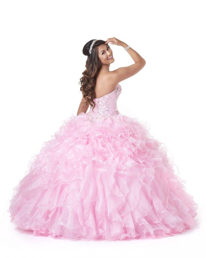 Vacker bollklänning Sweetheart Quinceanera klänningar Sweep Train Organza Crystal Beaded Lace Up Populära Prom Klänningar Nya Quinceanera Klänningar