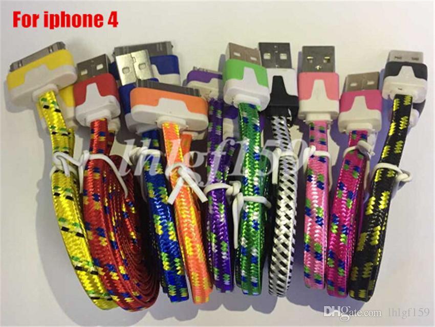 1 M 2 M 3FT 6FT USB Kumaş Örgülü Data Sync Tel Şarj Kablosu Fiber Düz Örgü Dokuma Şarj Kablosu Smartphone Için Mobil i P h o n 4