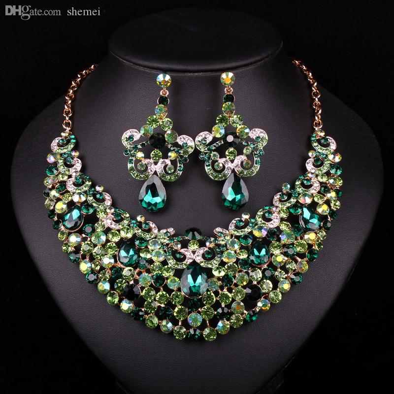 Silver Gifts For Indian Wedding: Wholesale Fashion Gold Plated Necklace Earring Indian
