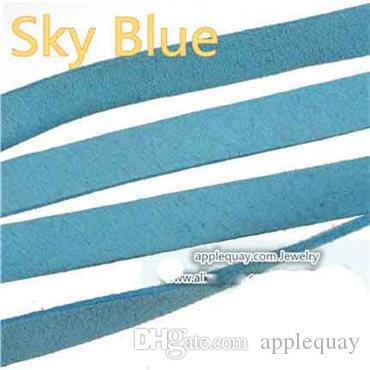 DIY Kordonlar Örgüler Toptan Düz Yumuşak 10mm Geniş Taklit Deri Halatlar Fit Bilezikler Çift Kadife Şeker Renk Sky Blue Takı Bulguları 40 m