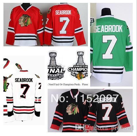 new arrivals d82bc b3c4d 2014 New Style Brent Seabrook Jersey #7 Chicago Blackhawks Ice Hockey  Jerseys Finals Champions Home Road Red White Black Green
