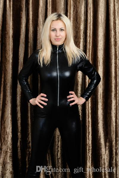 476095430c 2019 Men Women Black Catsuits Front Zip Vinyl Leather Jumpsuits Original  Suits Shiny Women Catsuits From Gift wholesale