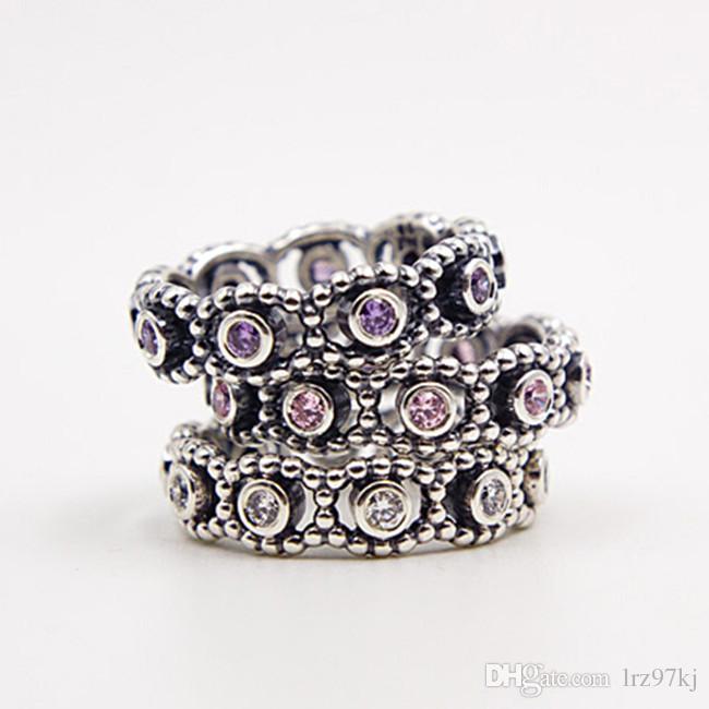 Sıcak 100% ile 925 Ayar Gümüş Majesteleri Yüzük Pembe CZ Avrupa Pandora Stil Takı Charm